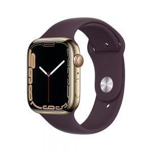 Apple Watch Series 7 Cellular 45 mm - Rustfritt stål i Gull med Mørk kirsebær Sport Band