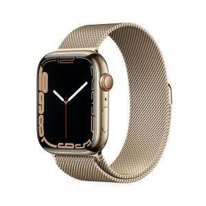 Apple Watch Series 7 Cellular 45 mm - Rustfritt stål i Gull med Milanese Loop i Gull