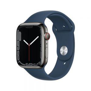 Apple Watch Series 7 Cellular 45 mm - Rustfritt stål i Grafitt med Havdypblå Sport Band