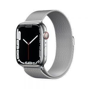 Apple Watch Series 7 Cellular 45 mm - Rustfritt stål i Sølv med Milanese Loop i Sølv