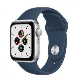 Apple Watch SE GPS 40 mm - Sølv med havdypblå Sport Band