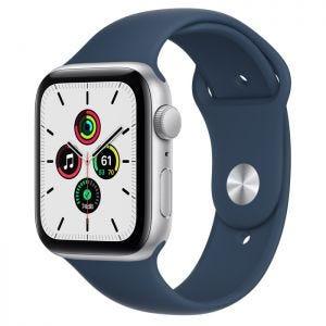 Apple Watch SE GPS 44 mm - Sølv med havdypblå Sport Band