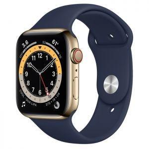 Apple Watch Series 6 Cellular 44 mm - Rustfritt stål i Gull med Dyp marineblå Sport Band