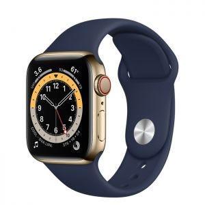 Apple Watch Series 6 Cellular 40 mm - Rustfritt stål i Gull med Dyp marineblå Sport Band