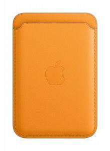 Lommebok i skinn med MagSafe til iPhone 12/12 Mini/12 Pro/12 Pro Max - Valmuegul