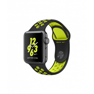 Apple Watch Series 2 38 mm Nike+ stellargrå alu med sort/gul Nike Sport Band