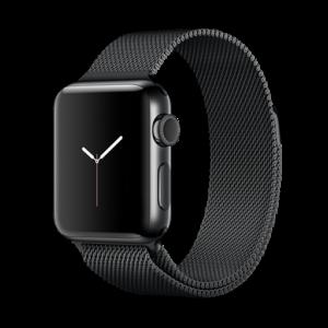 Apple Watch Series 2 38 mm stellarsort stål med Sort Milanese Loop