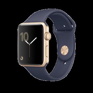 Apple Watch Series 2 42 mm gullfarget Alu med midnattsblå Sport Band