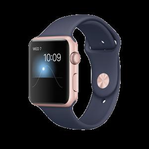 Apple Watch Series 1 42 mm rosegullfarget Alu med midnattsblå Sport Band