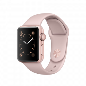 Apple Watch Series 1 38 mm rosegullfarget Alu med korallrosa Sport Band