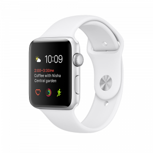 Apple Watch Series 1 38 mm sølvfarget Alu med hvit Sport Band