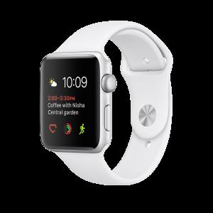 Apple Watch Series 1 42 mm sølvfarget Alu med hvit Sport Band
