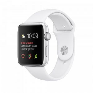 Apple Watch Series 2 38 mm sølvfarget Alu med hvit Sport Band
