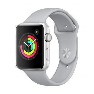 Apple Watch Series 3 GPS 42 mm - sølv med tåkegrå Sport Band