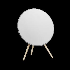 B&O BeoPlay A9 MKII høyttaler - hvit med føtter i lønn