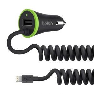 Belkin BOOST↑UP billader med kveilet kabel Lightning + USB
