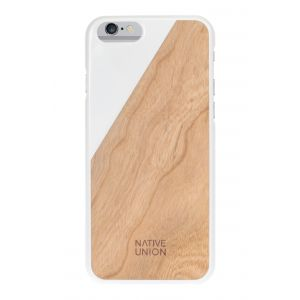 Native Union iPhone 6s Plus Clic Wooden-deksel i hvit med kirsebærtre