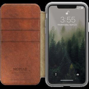 Nomad Clear Folio lommeboketui i skinn til iPhone X - klar/brun