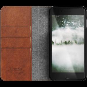 Nomad Folio lommeboketui i skinn til iPhone 8 plus/7 plus - brun