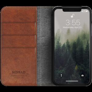 Nomad Folio lommeboketui i skinn til iPhone X - brun