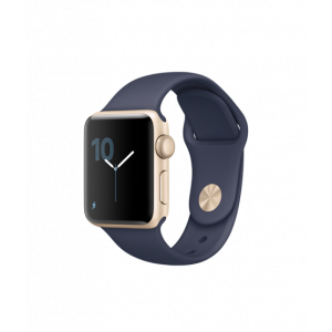 Apple Watch Series 2 38 mm gullfarget Alu med midnattsblå Sport Band