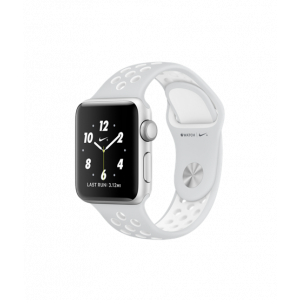 Apple Watch Series 2 38 mm Nike+ sølvfarget alu med platina/hvitt Nike Sport Band