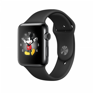 Apple Watch Series 2 42 mm stellarsvart stål med svart Sport Band